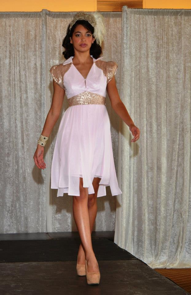 New Designer Aimee Yuen Royal Comp Finalist Evening dress Pink w gold sequin US6