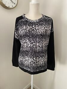Love 21 Forever 21 Black White Grey Leopard Casual Blouse Size M