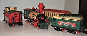 New Bright Vintage 1986 Wintersville Express Train Set of 4 - plus Tracks, toy