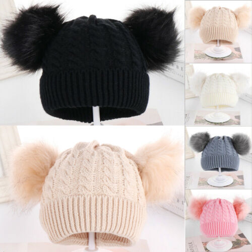 Baby Hat Large Pom Pom Bobble Chin Tie Winter Knitted Warm Boy Girl 0-24 Months