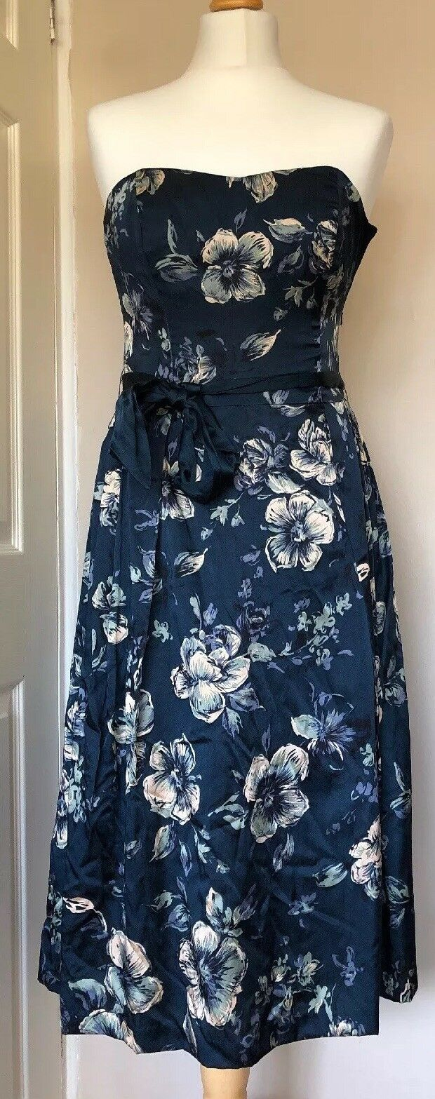 Monsoon Silk Blend Party Dress Size 10 bluee Floral Bow Pretty