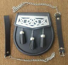 3 Tassels Cowhide Leather Plated Scottish Kilt Sporran, Leather & Metal Chain