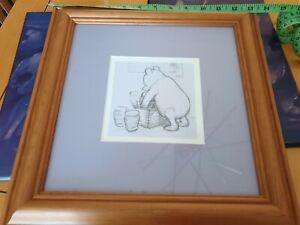 Winnie the Pooh framed pencil sketch print purple