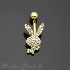 14k Yellow Gold Ip Crystal Pave Licensed Playboy Dangle Belly Button Navel Ring Buy Now Body Jewelry