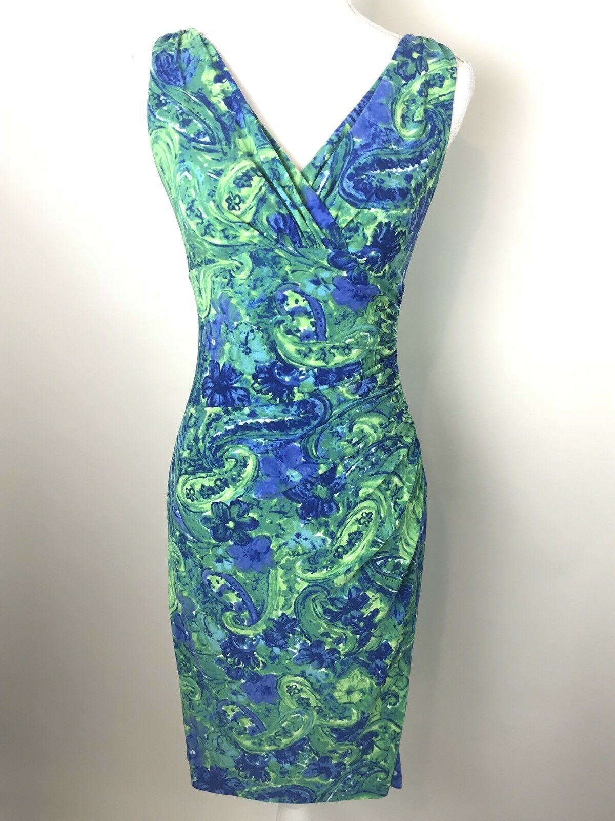 Lauren Ralph Lauren Floral Dress Size 2 Tropical Cruise Women bluee Green Label