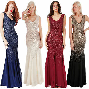Ladies Long Sequin Chiffon Evening Maxi Party Dress Ball Gown Womens