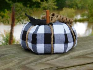 Fabric Pumpkin Black White Buffalo Plaid Home Decor
