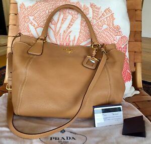 3ce73e6e554ca6 PRADA SHOULDER BAG VITELLO DAINO Side Pocket 2-WAY SADDLE BROWN Sold ...