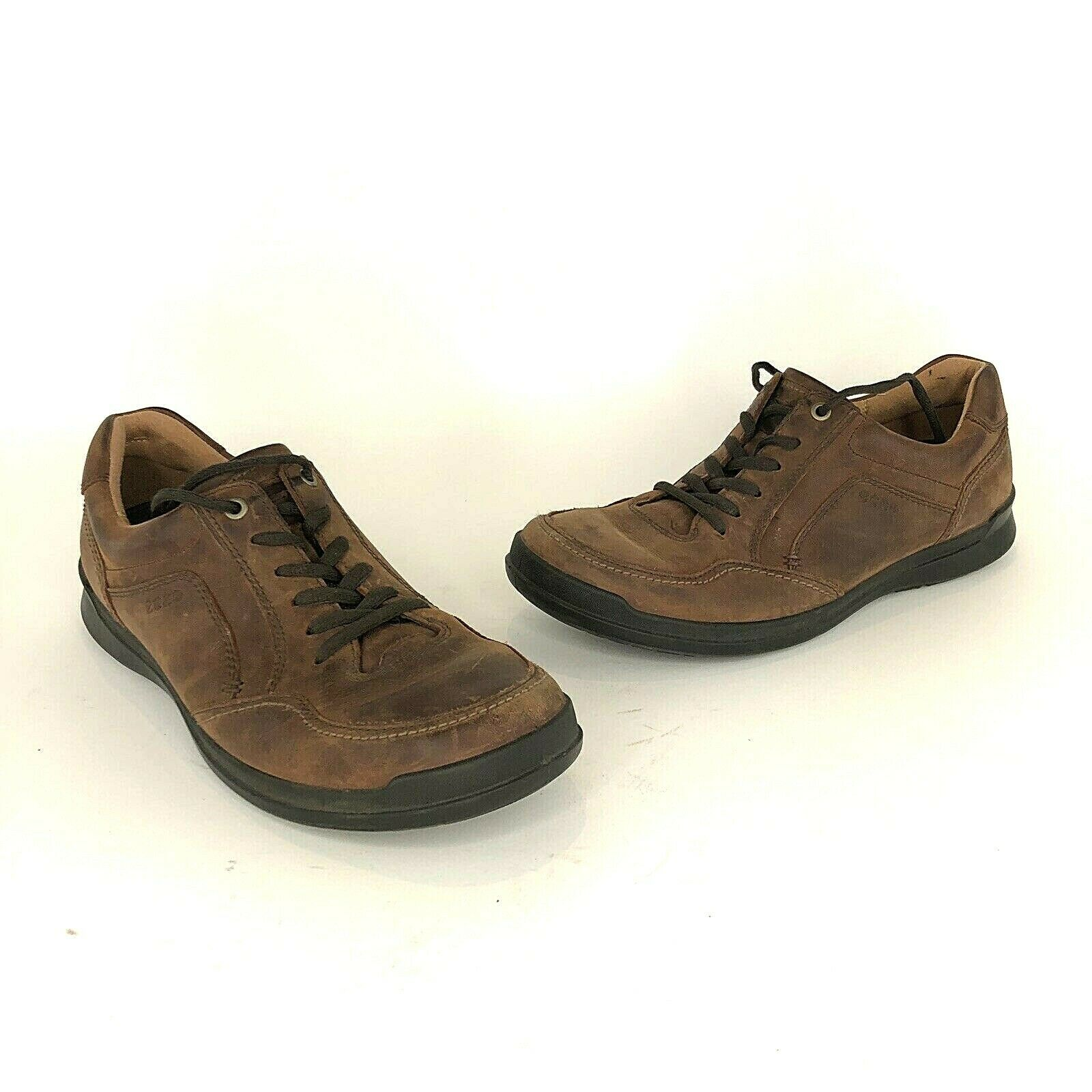 Ecco Mens Size 44 Brown Leather Oxford Lace Up shoes