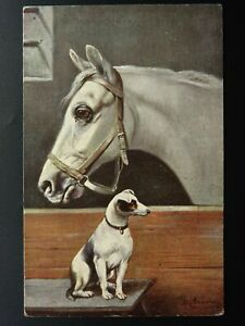 Horse-amp-Dog-Theme-PORTRAIT-of-HORSE-amp-JACK-RUSSELL-c1905-Postcard-by-Nister