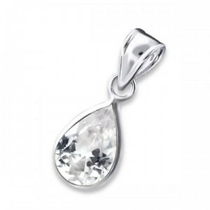 925-Sterling-Silver-Crystal-Cubic-Zirconia-Teardrop-Necklace-Chain-Included