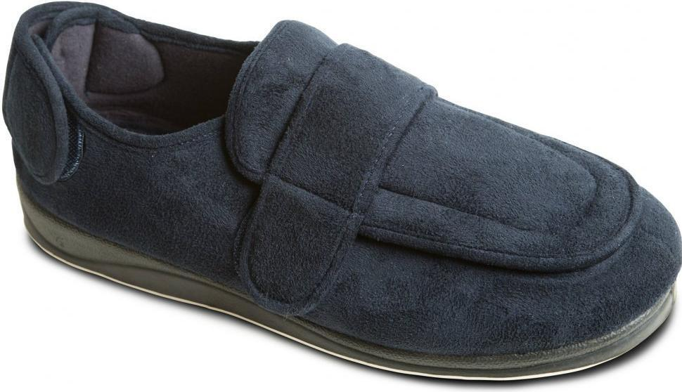 Padders WRAP Mens Microsuede Touch Close Wide Fit Comfort Slippers Navy bluee