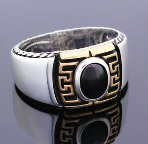 Solid-925-Sterling-Silver-Black-Onyx-Stone-Men-039-s-Ring