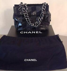 Details About Chanel Patch Work Handbag Black Fur Python Lamb Patent Leather