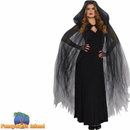 Long Cape Temptress Black or White Fantasy Halloween Womens Fancy Dress Costume