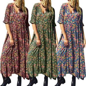 Mode-Femme-Demi-Manche-Loose-Manche-Courtes-Col-V-Imprime-floral-Longue-Plus