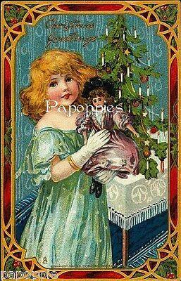 Vintage Victorian Girl Christmas Fabric Block Vintage Postcard