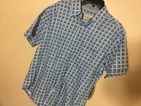 Italia Square Short-sleeve Woven Sportshirt Size L Dusty Jade Cplor Blue