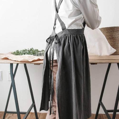 Damen Latz Schürzen Baumwolle Leinen Massiv Trägerrock Backen Florist Weich