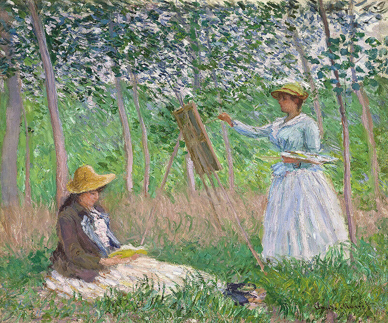 IN THE WOODS AT GIVERNY WeißHE HOSCHEDE PAINTING SUZANNE READING BY MONET REPRO