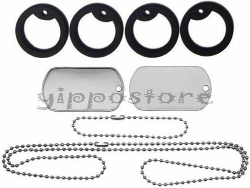 Military Spec Stainless Steel Blank Dog Tag Set Complete with Chains /& Silencers