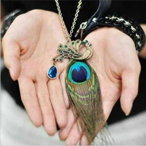 Fashion Charm Crystal Rhinestone Peacock Feather Pendant Long Chain Necklace