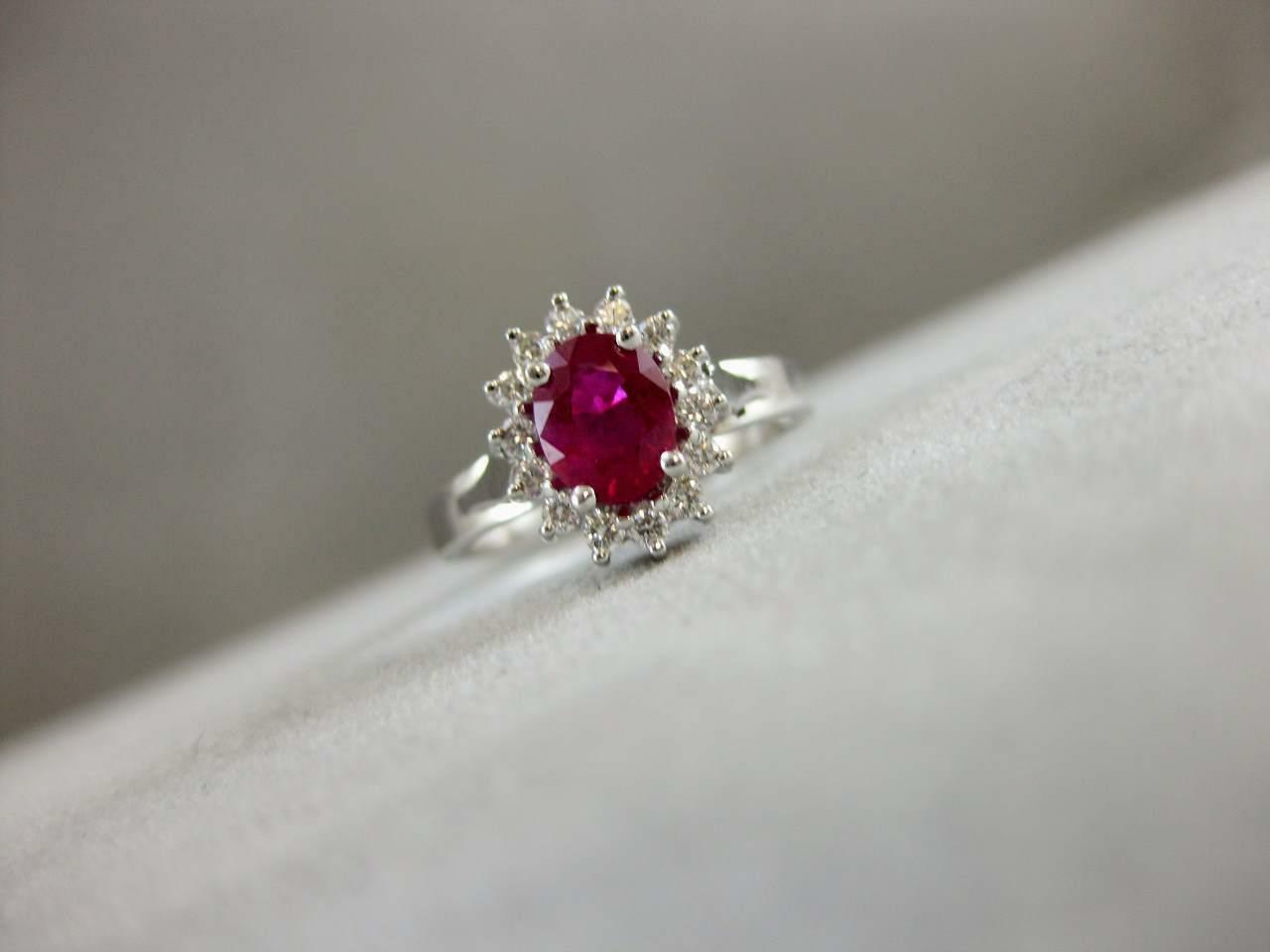 ESTATE 1.42CTW DIAMOND RUBY 18KT WHITE GOLD LADY … - image 2