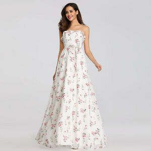 Details about Ever Pretty Long Floral Chiffon Holiday Gown Strapless White Summer Dress 07242
