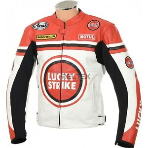 LUCKY-STRIKE-Classic-White-Red-Sports-Biker-Motorbike-Motorcycle-LEATHER-Jacket