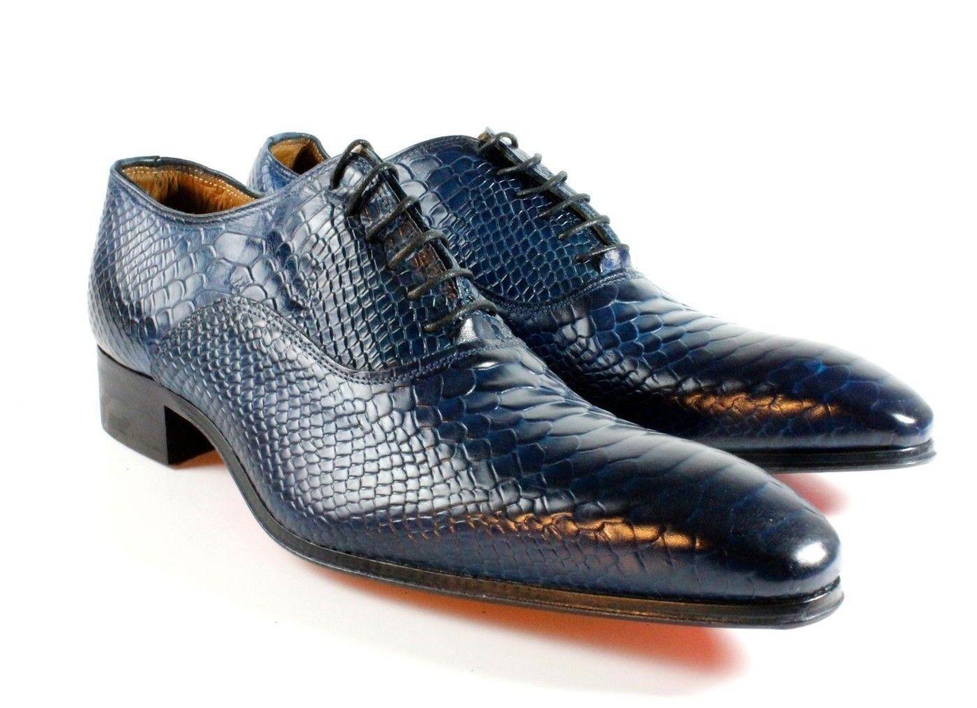 Ivan Troy Dunkelblau Krokodil Handgefertigt Italienisches Leder Formelle Schuhe
