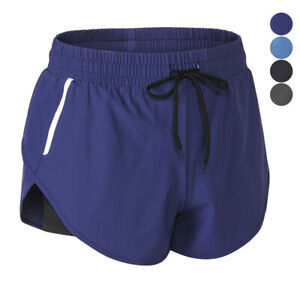 Womens-Casual-2-in-1-Shorts-Workout-Jogging-Training-Gym-Yoga-Shorts-Breathable