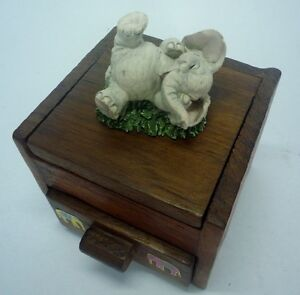 MIRROR BOX WOODEN HANDMADE MINI ELEPHANT, INPUT JEWELRY, ODDS and ENDS