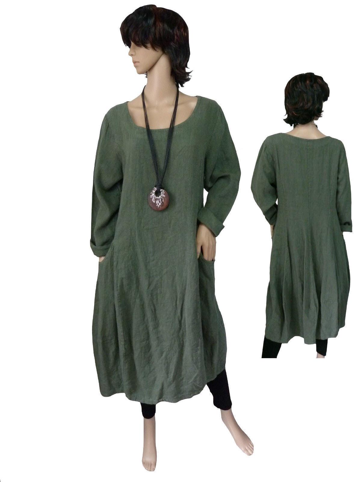 043af1f3c9ff 40 - 50 abito vestito lino manica lunga abito palloncino Vestito olivgün  Italia Lagenlook nndufp1830-Vestiti