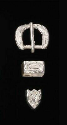"""and Tip #80730-3 Loop 1/"""" Hand Engraved Silver Plated Buckle"""