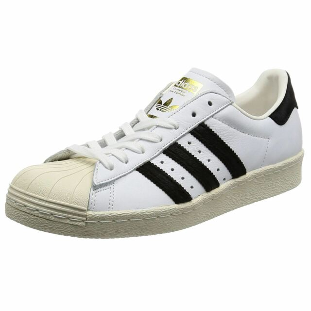 White Adidas Mens Core Superstar Leather 80s Footwear Trainers Sneakers Black qrwgOtrx
