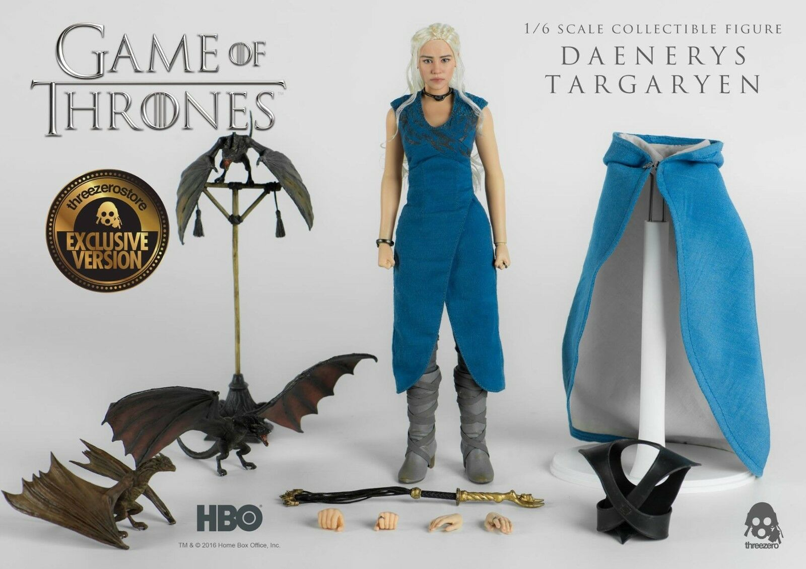 Threezero Exclusive Game of Thrones de Targaryen 1 6 figura con 3 Dragones