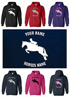 PERSONALISED ADULT HOODY, SHOW JUMPER DESIGN,  Small to XXL  HORSE / PONY