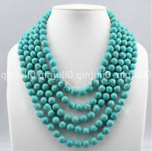 Woman-Jewelry-Necklace-5-Row-8mm-Round-Bead-Turquoise-Choker-Necklace-JN576