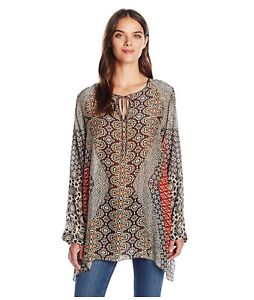 JOHNNY-WAS-Tie-V-Neck-BREELAND-Scarf-Print-BLOUSE-Tunic-Long-Sleeve-S