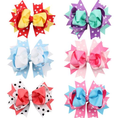 6pcs//lot Cute Baby Bowknot Hairpin Headdress Alligator Clip Hair Accessories