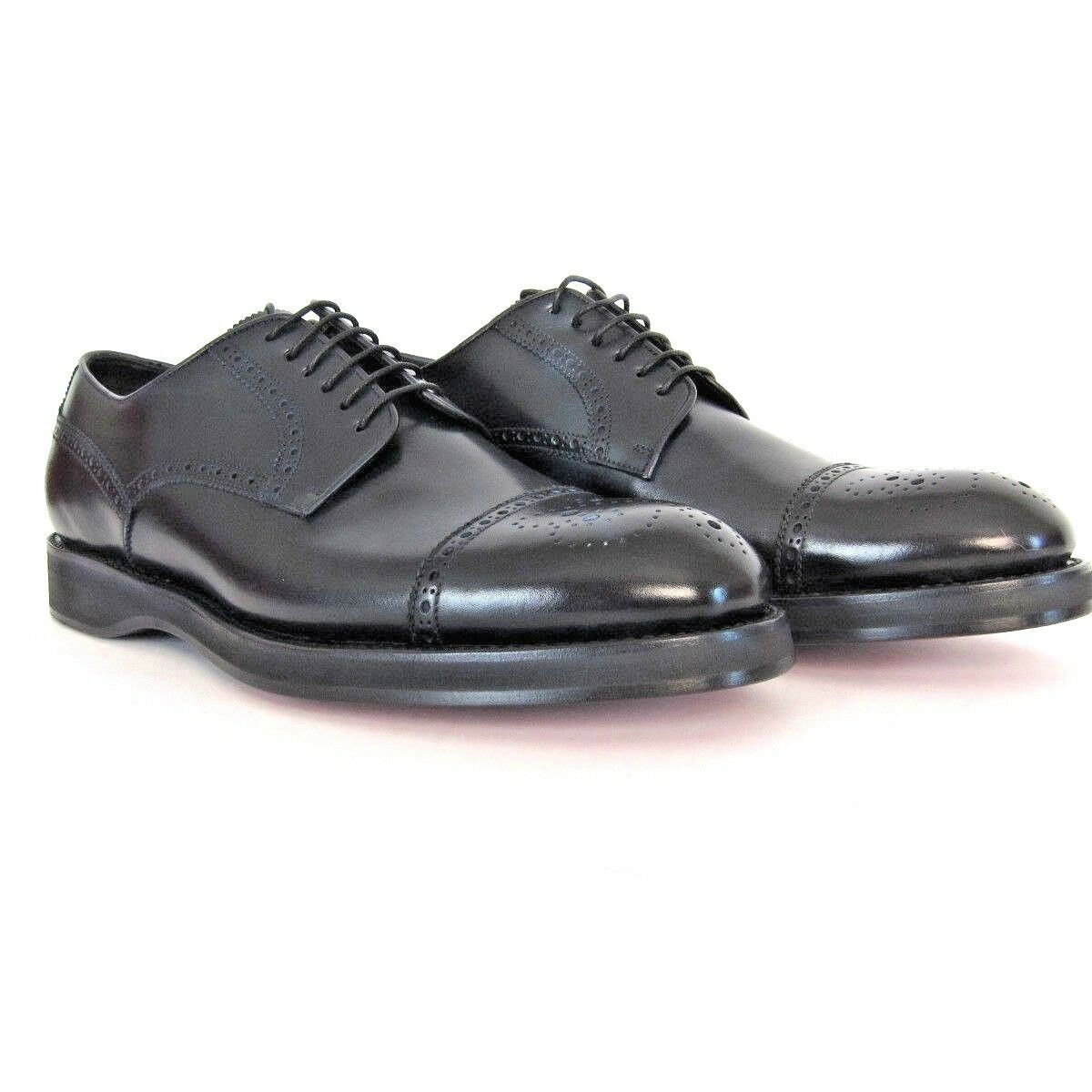 P-9180 New Brioni Oxford Black Leather shoes Size US 9 Marked 10