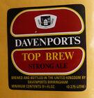 VINTAGE BRITISH BEER LABEL - DAVENPORTS TOP BREW STRONG ALE, 9 2/3 FL OZ