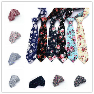 Men-039-s-Floral-Slim-Skinny-Tie-Necktie-Party-Wedding-Chic-Flowers-Cotton-Narrow
