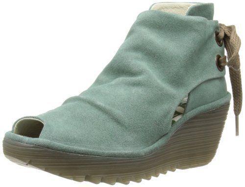 FLY LONDON YEMA Schuhe AQUA GREEN SUEDE Stiefel Schuhe YEMA SANDALS WEDGES UK 4 EUR 37 64626f