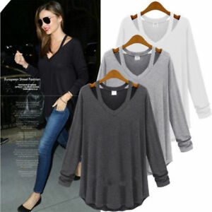 87fece94fe5e Image is loading Women-039-s-Cold-Shoulder-Long-Sleeve-Loose-