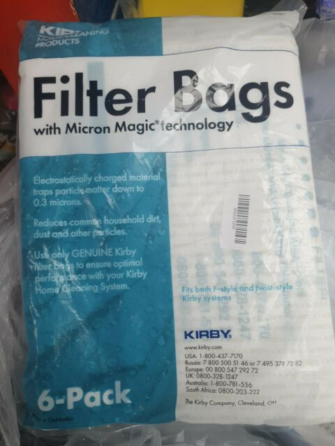 Kirby 204811 Universal Hepa White Cloth Bags 6 Count Micron Magic Filter NEW