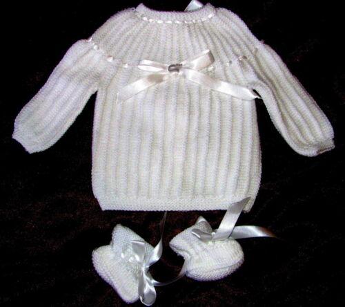 cadeau naissance brassiere bébé blanc tricotée main chaussons 1//3 MOIS