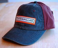 Caterpillar Waxy Leather Like Front and Chocolate Brown Back Cat Hat / Cap