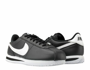 ed7fddce167d Nike Cortez Basic Leather Black White-Silver Men s Running Shoes ...