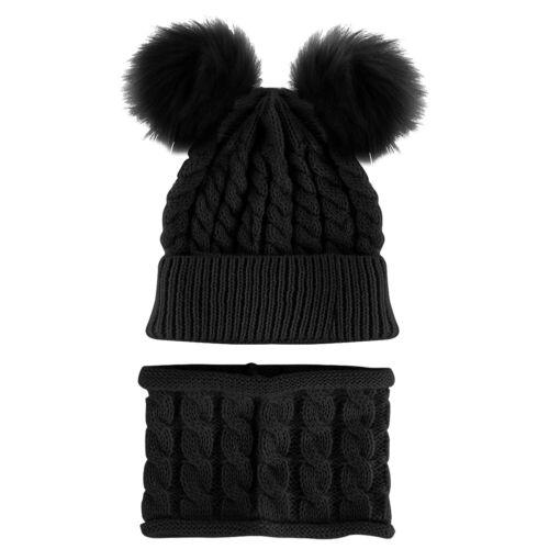Baby Boy Girl Winter Warm Double Fur Pom Bobble Knit Beanie Hat Cap Scarf